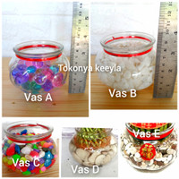 Vas Kaca Bening paket/vas bambu hoki/vas tanaman air/aquarium mini