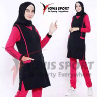 BS12 Setelan Baju Training Olah Raga Model Tunik Wanita