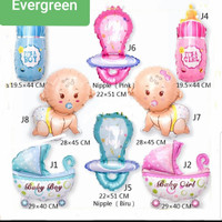 Balon foil karakter mini baby shower party/baby boy and baby girl balo