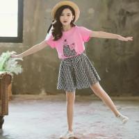 Baju setelan Kaos + Rok pendek anak perempuan umur 3bln - 4 tahun baru