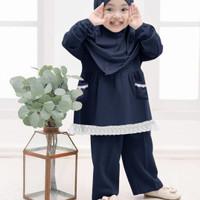 setelan piyama muslim hijab SHERIVA. 4-7 tahun - Navy