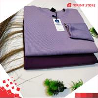 Kaos Polos Rib Lengan Panjang Wanita Premium 2x2 All Size Unisex Tebal