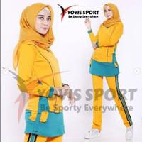 Jual Baju Senam Rok Kantong Jumbo Stelan Baju+Celana / abu kuning