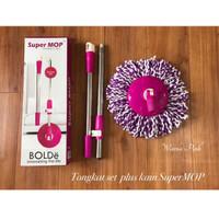 Tongkat Kepala Super Mop Bolde Handle Set+Kain Sparepart Alat Pel