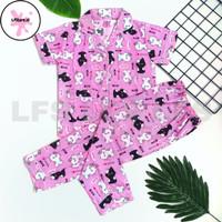Piyama anak perempuan 3~9thn Katun Jepang Baju tidur anak perempuan - S, Kucing Pink