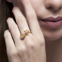 Crocus - Cincin Perak 925 Silver 18k Gold Plated Ring by AR Signature