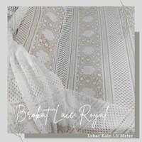 Kain Brukat Lace Vintage Royal Putih Tulang