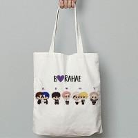 Totebag Tote Bag Kanvas BTS Wanita Logo Army