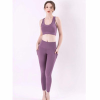 Setelan Baju Olah Raga Wanita Atasan Celana Legging Set Yoga Fitness