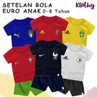 Setelan Baju Bola Jersey Bayi & Anak Edisi Euro Bahan Katun Combed 30s