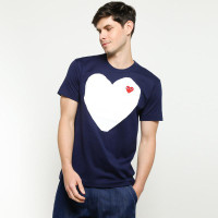 Comme Des Carcons CDG Play 'White Heart Navy T-shirt 100% Original