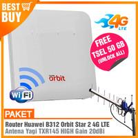 Paket Modem Router WIFI ORBIT STAR B312 4G & Antena Yagi Grid Extreme