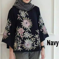 tunik atasan baju blouse wanita bluss muslim pesta elegan mewah bunga