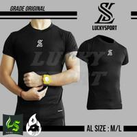 baselayer/ baju manset lengan pendek Hitam LS POLOS-fitness-gym Nyaman