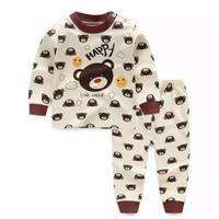 Baju anak bayi setelan anak bayi motif happy bear celana&lengan panjng - 90