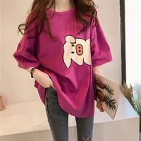 Piggy T Shirt Wanita Cotton Tebal Original IMPORT - Maroon