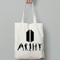 Totebag Tote Bag Kanvas BTS Wanita Logo Army - ARMY SILUET