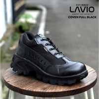 Sepatu Safety Pria Boots Pendek Lavio Coven Ujung Besi 2021 - Full Black, 39