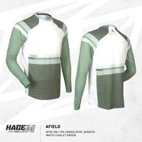 Jersey Sepeda MTB DH XC AM Merk HAGE AFIELD white chalet green