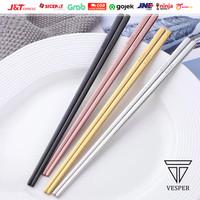 Sumpit pipih korea stainless / korea chopstick flat / sujeo