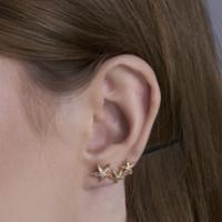 Starfish - Anting Studs Earclimber Perak 925 Silver 18k Gold Plated