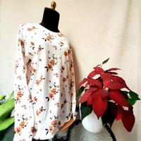 Atasan Wanita Lengan Panjang Motif Bahan Katun - Cream Bunga