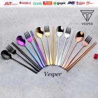 Paket sendok garpu sumpit korea / sendok garpu sumpit warna / sujeo