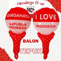 Balon PENTUNGAN Foil HUT RI - Balon Tepuk Merah Putih 17an 17 Agustus
