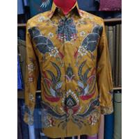 Baju batik pria lengan panjang bahan Sutra Halus motif dobby