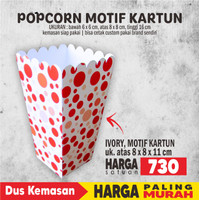 Box Popcorn Polkadot 8x8x16 cm Foodgrade
