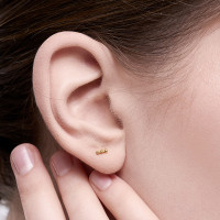 Fei - Anting Studs Perak 925 Silver 18k Gold Plated Earring
