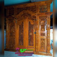 pintu Rumah Gebyok Ukir jepara Model Krawang kayu Jati Mewah