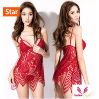Fashionangel sexy lingerie seksi Gaya bohemian baju tidur 1002 merah - Merah