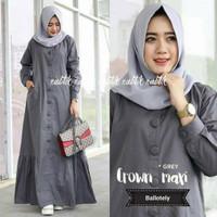 Baju Gamis Wanita Muslim Remaja Dewasa Modern Terbaru Crown Maxi Dress - Grey