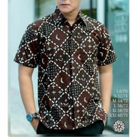 Baju kemeja pria batik tulis kombinasi lengan pendek ZQ-01