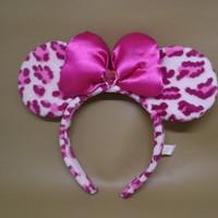 bando headband minnie mouse loreng pink disneyland
