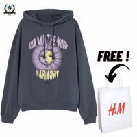Hoodie H&M Sun And The Moon Grey Full Tag Free Paper Bag - Abu-abu, M