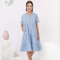 Valen Dress Beatrice Clothing - Midi Dress Wanita - Pastel Blue