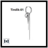 Anting Tindik Jepit Pria Wanita Korea Stainless Steel Silver - Tindik-01