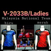 baju kaos badminton 2033b ladies biru dan merah