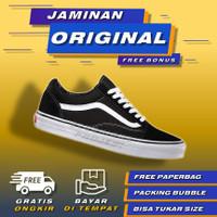 Vans Old Skool Black White Original Sepatu Vans Oldskool Original Pria - 35