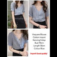 VISQUARE TOP - blouse atasan wanita bahan katun import - Blue