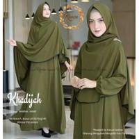 Baju gamis wanita syari Khodijah set gamis Wanita muslimah 2021 - Hijau