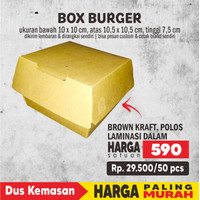 Box Burger 10*10*7.5 KRAFT LAMINASI POLOS