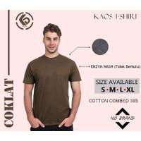 KAOS POLOS PRIA BASIC T-SHIRT COTTON COMBED 30S - COKLAT - S