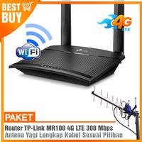 Paket Router Modem TPLINK MR100 4G LTE WIFI Hotspot & Antena Yagi Grid