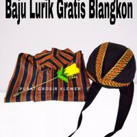 Baju Lurik Jawa Gratis Blangkon / Baju Adat Jawa Bonus Blangkon - Cokelat, M