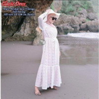 baju gamis wanita terbaru/gaun wanita/gamis brokat full furing - Putih
