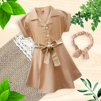 Two Mix Dress Anak Perempuan Kasual Bonus Bandana Usia 1-8 Tahun 4140