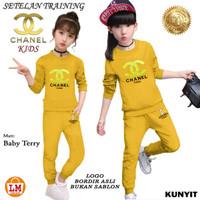 LM 21538 Baju Setelan Pakaian Olahraga Anak Perempuan CHL KIDS Bordir - Kunyit, S